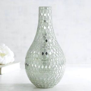 Pier 1 Handcrafted White And Silver Mosaic Vase